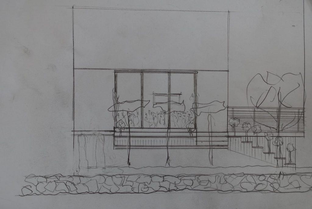 våra första skisser på framsidan av vårt hus