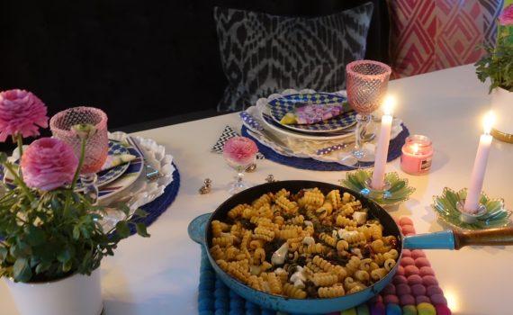 Vegetarisk pasta med valnötter, ruccola och mozzarella
